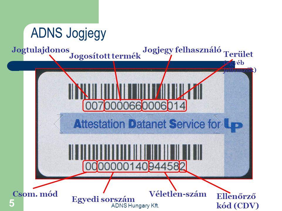 ADNS Hungary Kft. 5 ADNS Jogjegy Ellenőrző kód (CDV) Jogosított termék JogtulajdonosJogjegy felhasználó Terület (egyéb jellemzők) Csom. mód Egyedi sor
