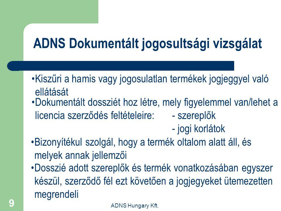 ADNS Hungary Kft. 9 ADNS Dokumentált jogosultsági vizsgálat Kiszűri a hamis vagy jogosulatlan termékek jogjeggyel való ellátását Dokumentált dossziét