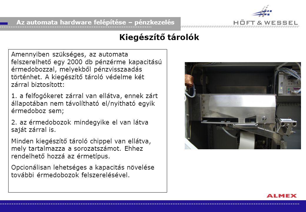 Kiegészítő tárolók Amennyiben szükséges, az automata felszerelhető egy 2000 db pénzérme kapacitású érmedobozzal, melyekből pénzvisszaadás történhet. A