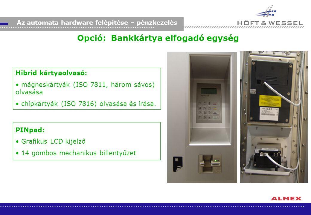 Opció: Bankkártya elfogadó egység Hibrid kártyaolvasó: mágneskártyák (ISO 7811, három sávos) olvasása chipkártyák (ISO 7816) olvasása és írása. Az aut