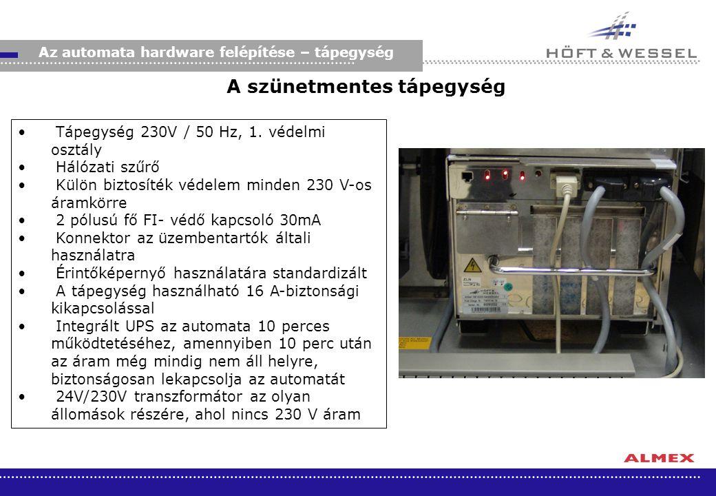A szünetmentes tápegység Tápegység 230V / 50 Hz, 1. védelmi osztály Hálózati szűrő Külön biztosíték védelem minden 230 V-os áramkörre 2 pólusú fő FI-