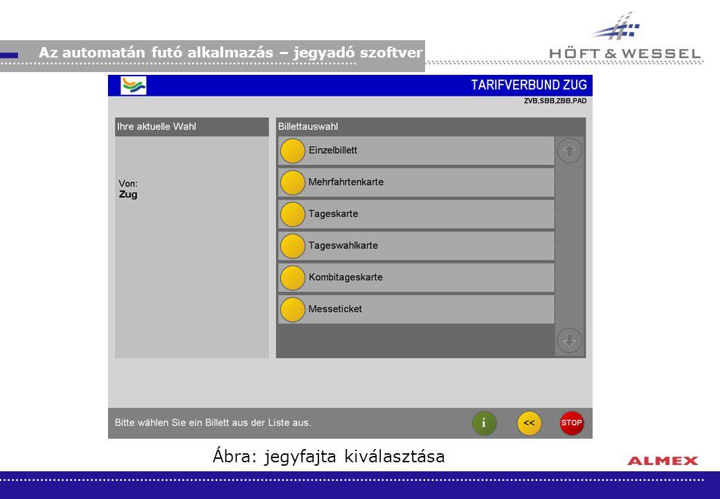 Ábra: jegyfajta kiválasztása Az automatán futó alkalmazás – jegyadó szoftver