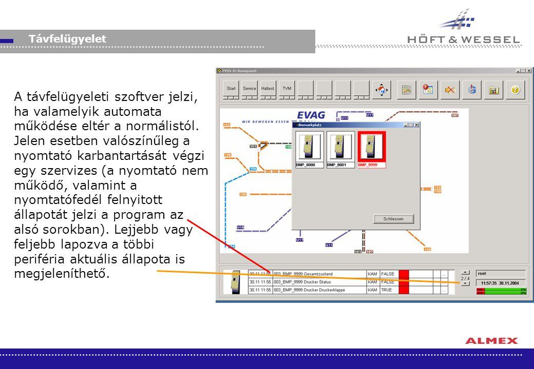 A távfelügyeleti szoftver jelzi, ha valamelyik automata működése eltér a normálistól. Jelen esetben valószínűleg a nyomtató karbantartását végzi egy s