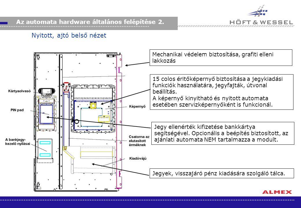 Az automata hardware általános felépítése 2. Mechanikai védelem biztosítása, grafiti elleni lakkozás 15 colos éritőképernyő biztosítása a jegykiadási