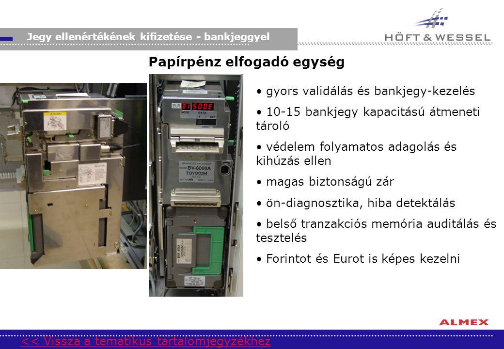 Jegy ellenértékének kifizetése - bankjeggyel gyors validálás és bankjegy-kezelés 10-15 bankjegy kapacitású átmeneti tároló védelem folyamatos adagolás