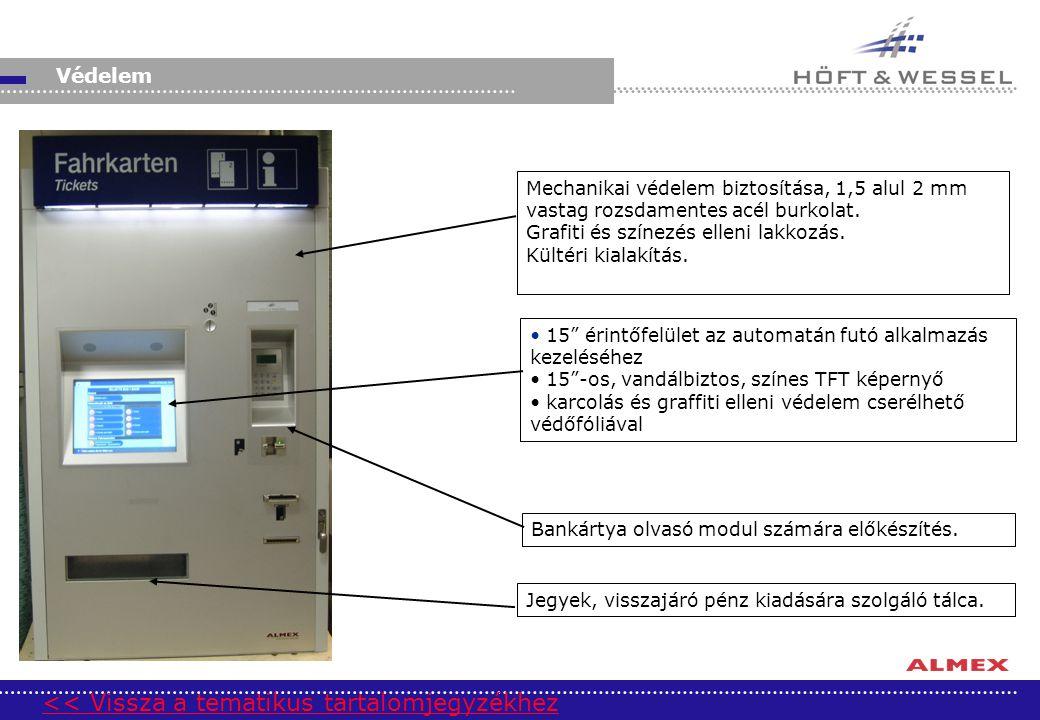 """Védelem Mechanikai védelem biztosítása, 1,5 alul 2 mm vastag rozsdamentes acél burkolat. Grafiti és színezés elleni lakkozás. Kültéri kialakítás. 15"""""""