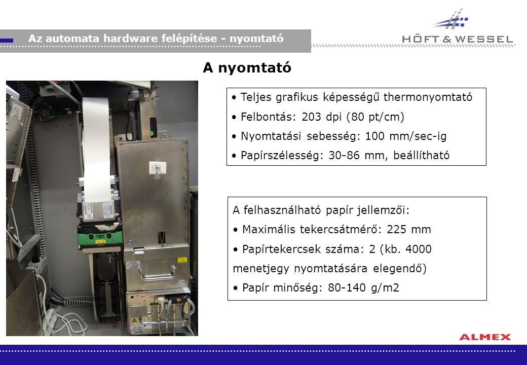 Az automata hardware felépítése - nyomtató A nyomtató Teljes grafikus képességű thermonyomtató Felbontás: 203 dpi (80 pt/cm) Nyomtatási sebesség: 100