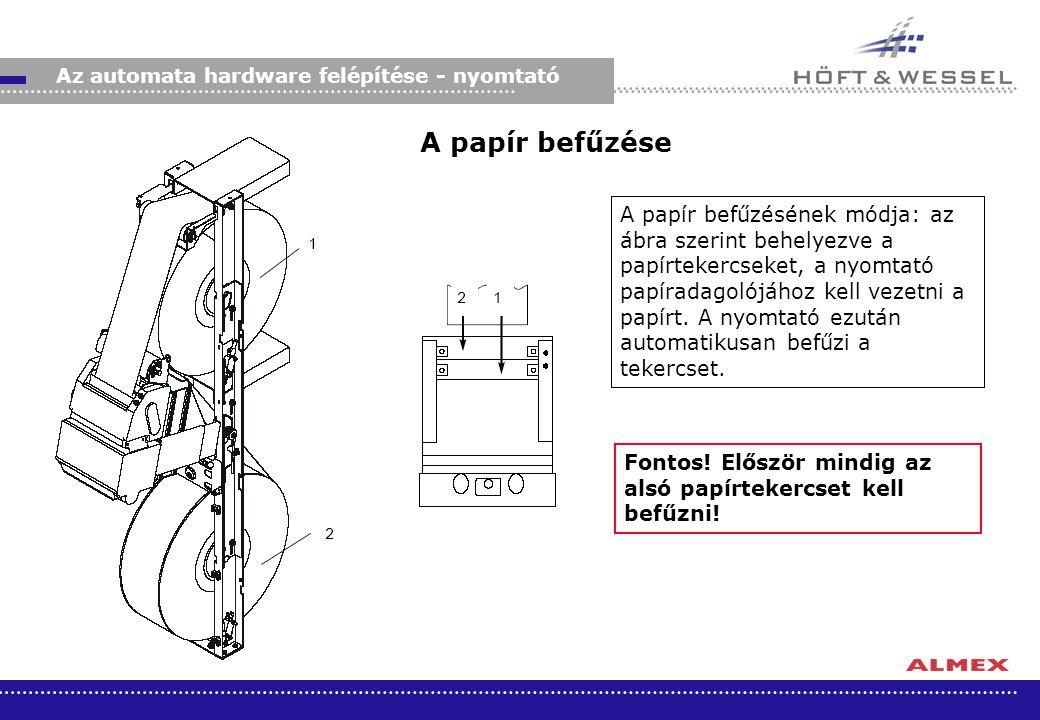Az automata hardware felépítése - nyomtató A papír befűzése A papír befűzésének módja: az ábra szerint behelyezve a papírtekercseket, a nyomtató papír