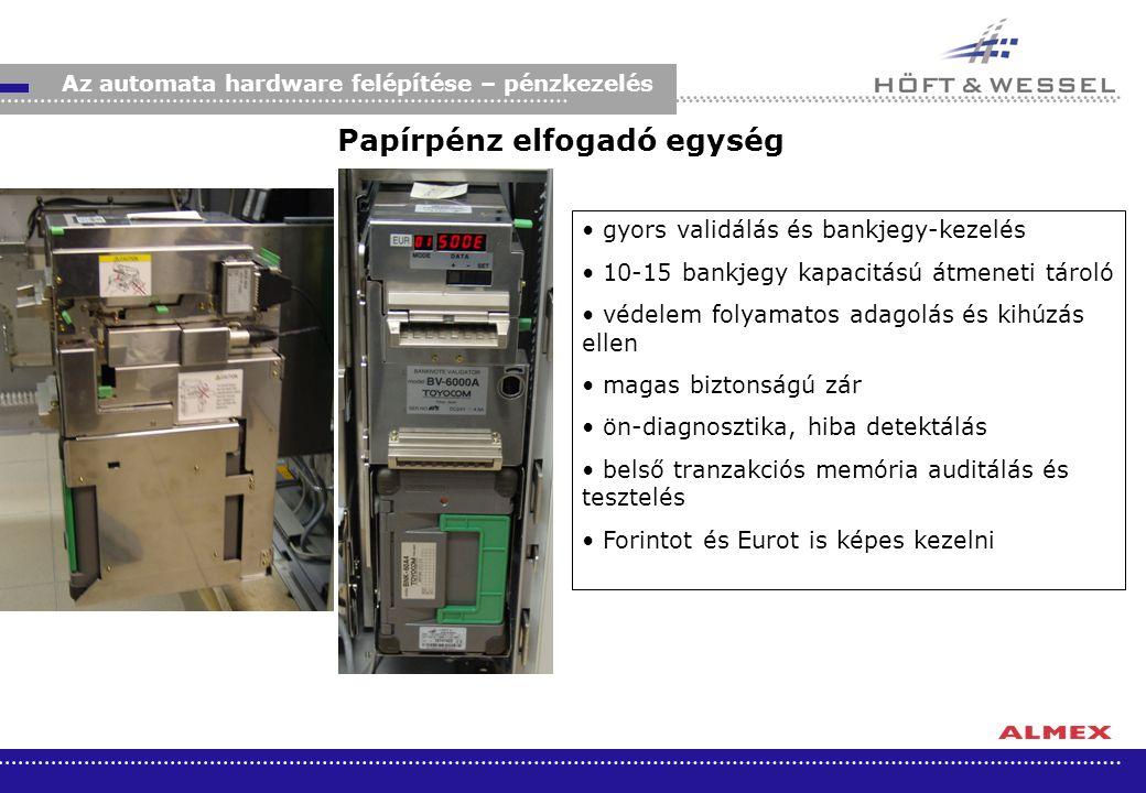 Az automata hardware felépítése – pénzkezelés gyors validálás és bankjegy-kezelés 10-15 bankjegy kapacitású átmeneti tároló védelem folyamatos adagolá