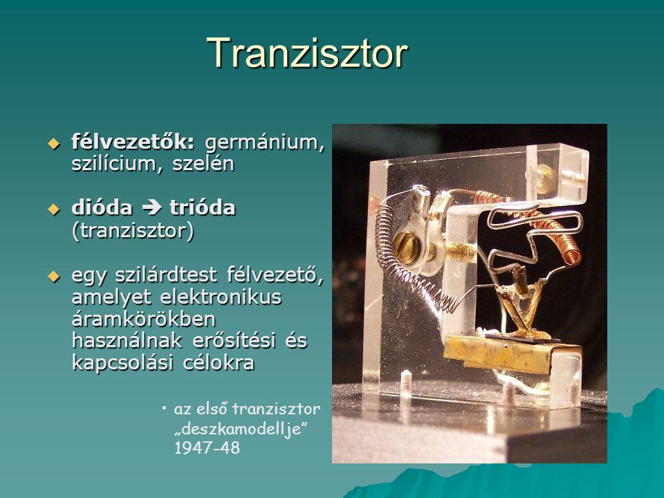 Tranzisztor  félvezetők: germánium, szilícium, szelén  dióda  trióda (tranzisztor)  egy szilárdtest félvezető, amelyet elektronikus áramkörökben h