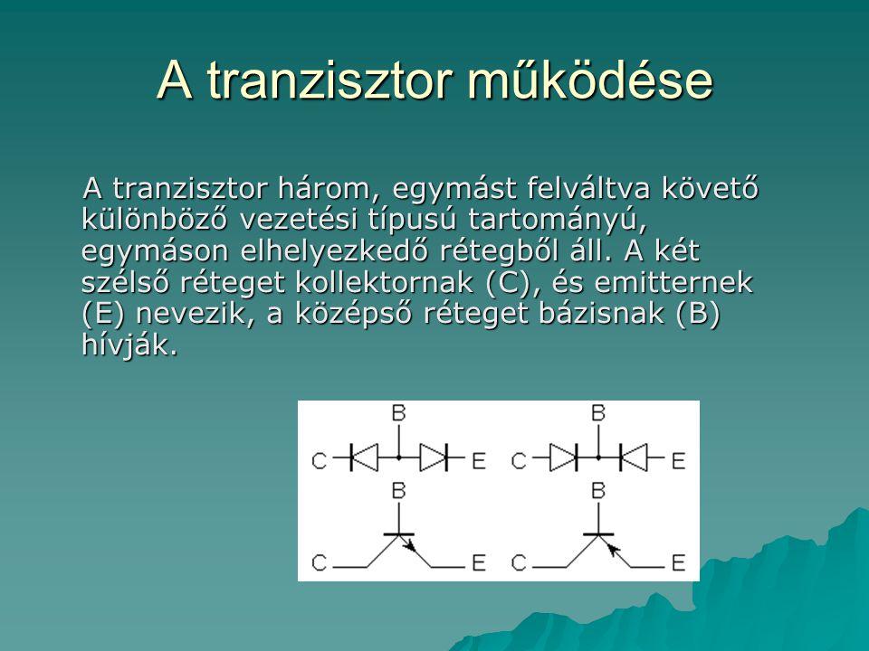 A tranzisztor működése A tranzisztor három, egymást felváltva követő különböző vezetési típusú tartományú, egymáson elhelyezkedő rétegből áll. A két s