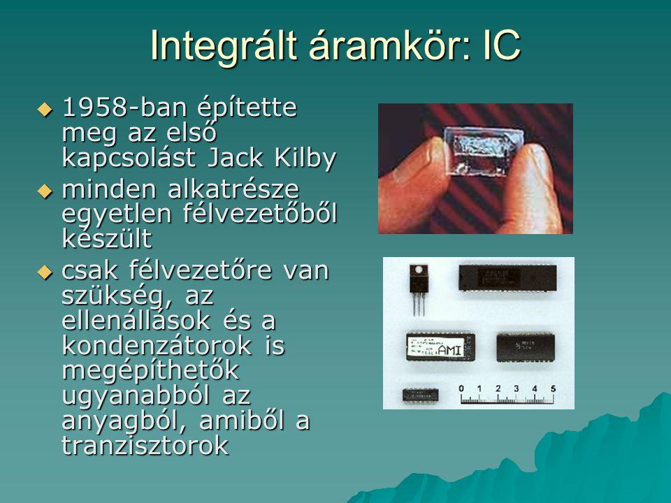 Integrált áramkör: IC  1958-ban építette meg az első kapcsolást Jack Kilby  minden alkatrésze egyetlen félvezetőből készült  csak félvezetőre van s
