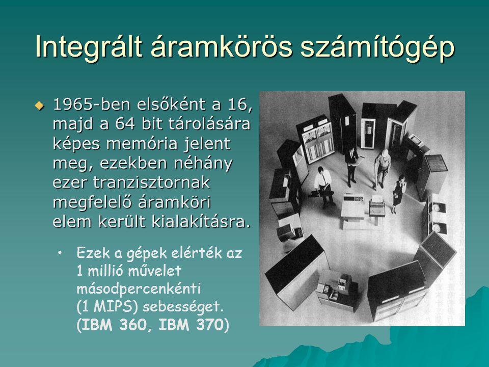 Integrált áramkörös számítógép  1965-ben elsőként a 16, majd a 64 bit tárolására képes memória jelent meg, ezekben néhány ezer tranzisztornak megfele