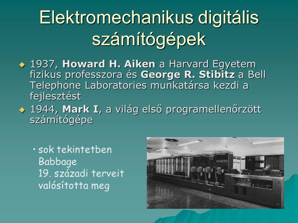 Elektromechanikus digitális számítógépek  1937, Howard H. Aiken a Harvard Egyetem fizikus professzora és George R. Stibitz a Bell Telephone Laborator