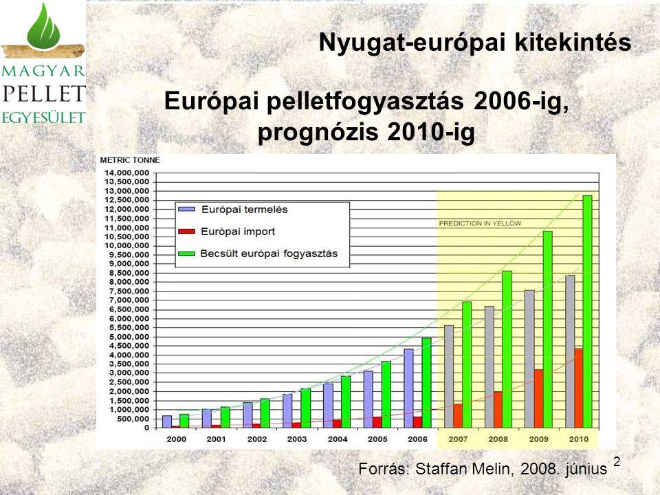 2 Európai pelletfogyasztás 2006-ig, prognózis 2010-ig Forrás: Staffan Melin, 2008.