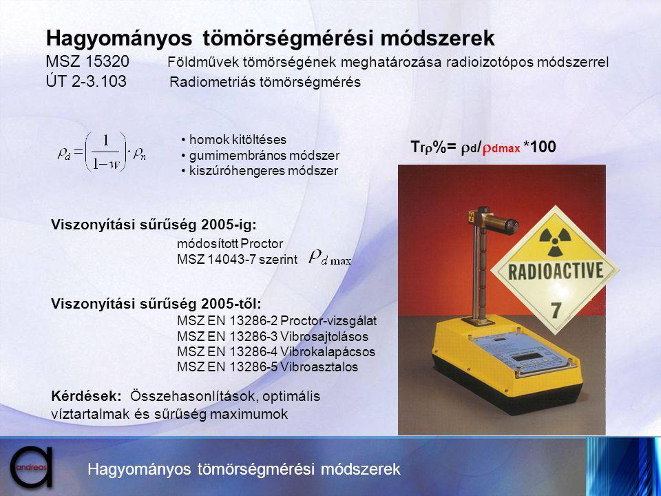 Hagyományos tömörségmérési módszerek MSZ 15320 Földművek tömörségének meghatározása radioizotópos módszerrel ÚT 2-3.103 Radiometriás tömörségmérés hom