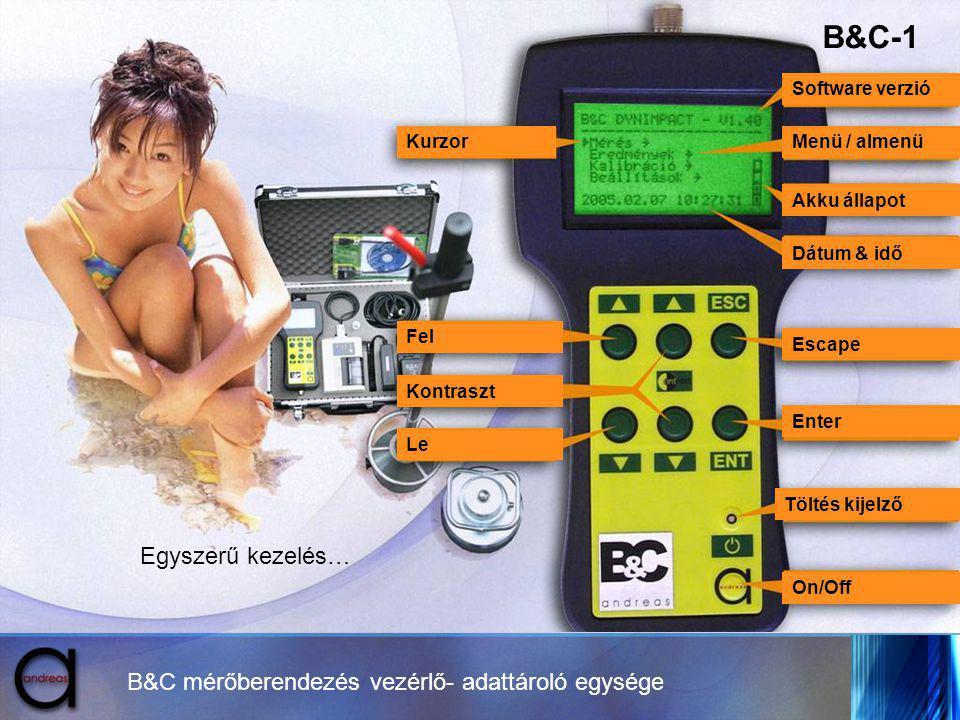 B&C mérőberendezés vezérlő- adattároló egysége Kurzor Fel Kontraszt Le Menü / almenü Akku állapot Dátum & idő Enter Töltés kijelző Escape On/Off Softw