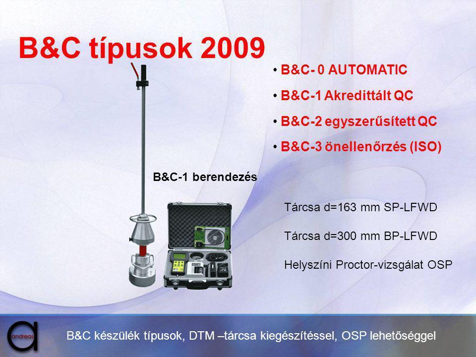 B&C típusok 2009 B&C- 0 AUTOMATIC B&C-1 Akredittált QC B&C-2 egyszerűsített QC B&C-3 önellenőrzés (ISO) B&C készülék típusok, DTM –tárcsa kiegészítéss