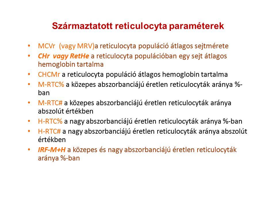 Származtatott reticulocyta paraméterek MCVr (vagy MRV)a reticulocyta populáció átlagos sejtmérete CHr vagy RetHe a reticulocyta populációban egy sejt