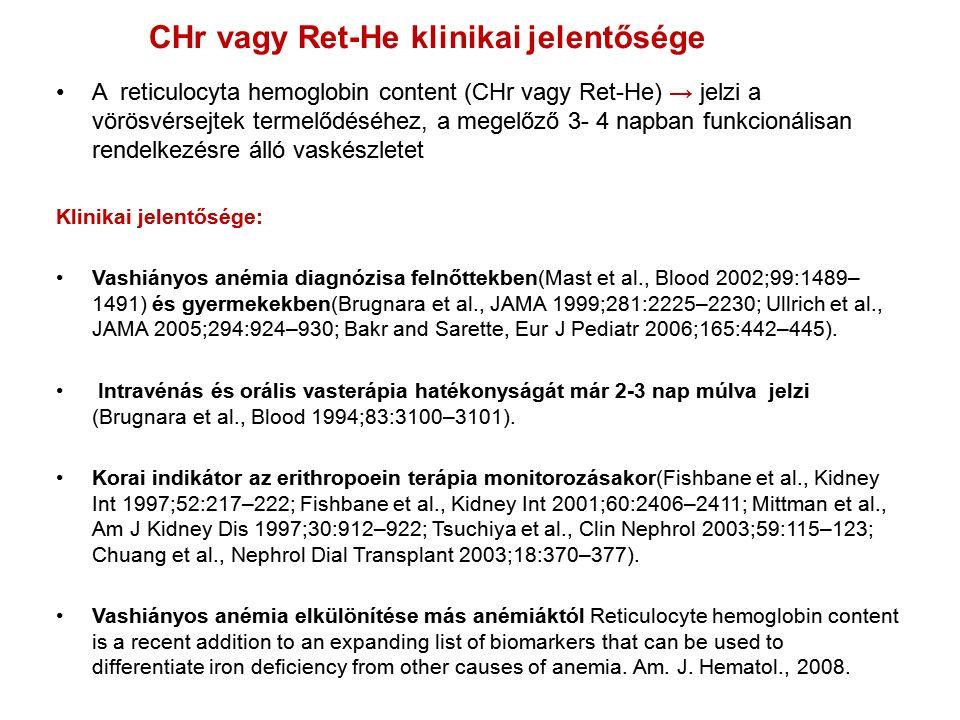 A reticulocyta hemoglobin content (CHr vagy Ret-He) → jelzi a vörösvérsejtek termelődéséhez, a megelőző 3- 4 napban funkcionálisan rendelkezésre álló