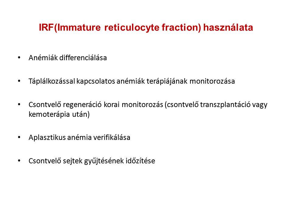 IRF(Immature reticulocyte fraction) használata Anémiák differenciálása Táplálkozással kapcsolatos anémiák terápiájának monitorozása Csontvelő regenerá