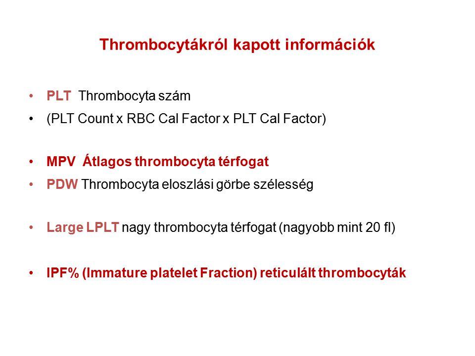 Thrombocytákról kapott információk PLT Thrombocyta szám (PLT Count x RBC Cal Factor x PLT Cal Factor) MPV Átlagos thrombocyta térfogat PDW Thrombocyta