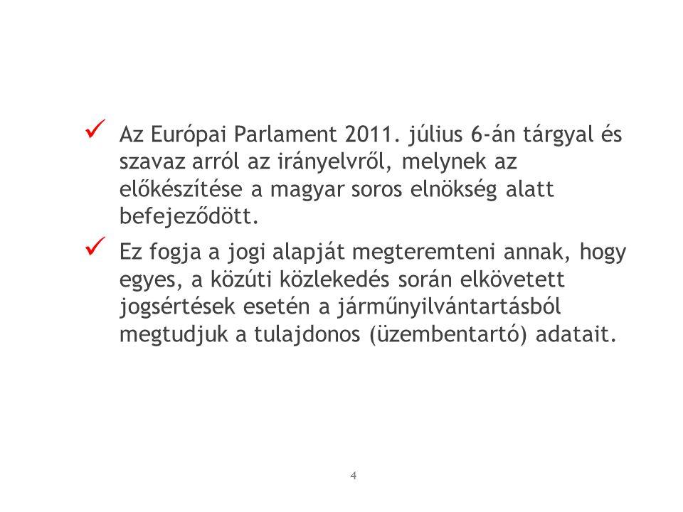 Az Európai Parlament 2011. július 6-án tárgyal és szavaz arról az irányelvről, melynek az előkészítése a magyar soros elnökség alatt befejeződött. Ez