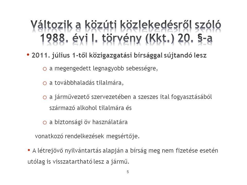 Bírság összegeElőéleti pont Gépi meghajtású jármű 0,5‰ vér, illetve 0,3 mg/l légalkohol értéig 150.0006 Gépi meghajtású jármű 0,51 és 0,8‰ közötti vér-, illetve 0,31 és 0,5 mg/l légalkohol érték között 200.0008 Gépi meghajtású jármű 0,8‰ vér-, illetve 0,5 mg/l légalkohol érték fölött 300.0008 Nem gépi meghajtású jármű 0,8‰ vér-, illetve 0,5 mg/l légalkohol értékig 30.000- Nem gépi meghajtású jármű 0,8‰ vér-, illetve 0,5 mg/l légalkohol érték fölött 60.000-