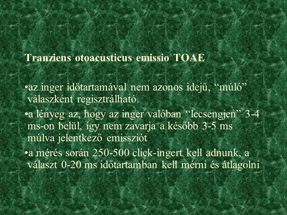 Tranziens otoacusticus emissio TOAE az inger időtartamával nem azonos idejű, múló válaszként regisztrálható.
