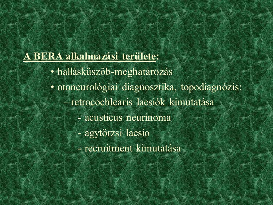 A BERA alkalmazási területe: hallásküszöb-meghatározás otoneurológiai diagnosztika, topodiagnózis: –retrocochlearis laesiók kimutatása -acusticus neurinoma -agytörzsi laesio -recruitment kimutatása