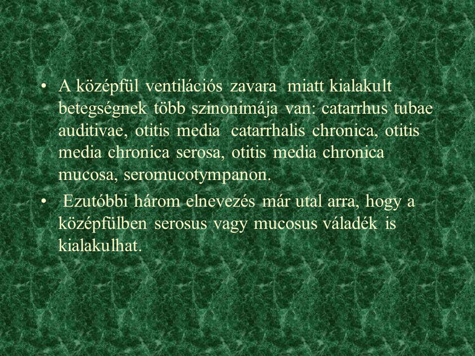 A középfül ventilációs zavara miatt kialakult betegségnek több szinonimája van: catarrhus tubae auditivae, otitis media catarrhalis chronica, otitis media chronica serosa, otitis media chronica mucosa, seromucotympanon.