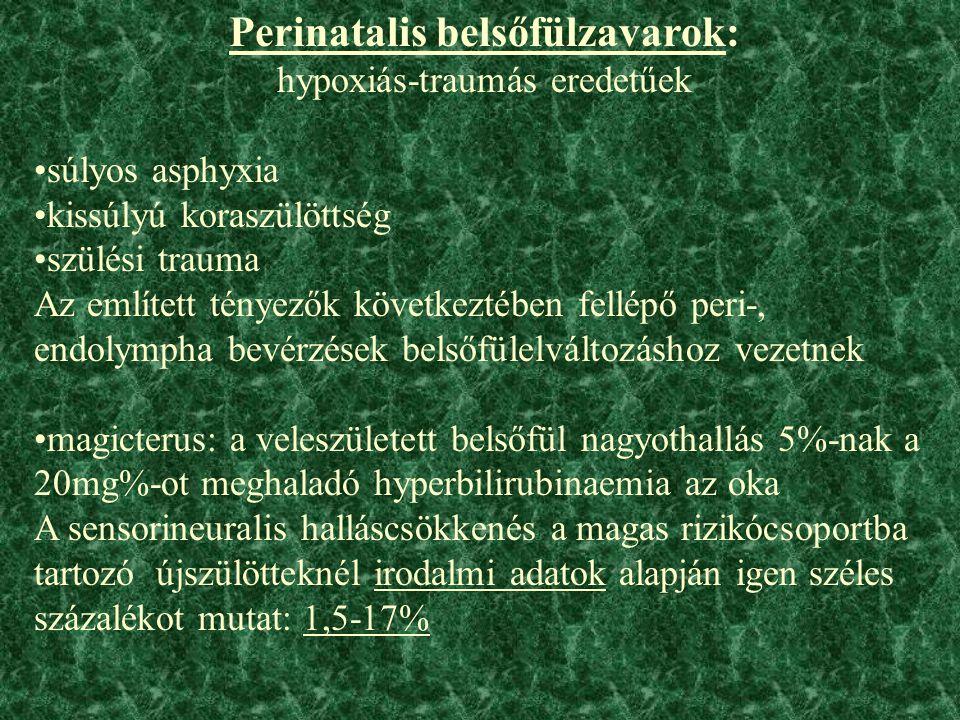 Perinatalis belsőfülzavarok: hypoxiás-traumás eredetűek súlyos asphyxia kissúlyú koraszülöttség szülési trauma Az említett tényezők következtében fellépő peri-, endolympha bevérzések belsőfülelváltozáshoz vezetnek magicterus: a veleszületett belsőfül nagyothallás 5%-nak a 20mg%-ot meghaladó hyperbilirubinaemia az oka A sensorineuralis halláscsökkenés a magas rizikócsoportba tartozó újszülötteknél irodalmi adatok alapján igen széles százalékot mutat: 1,5-17%