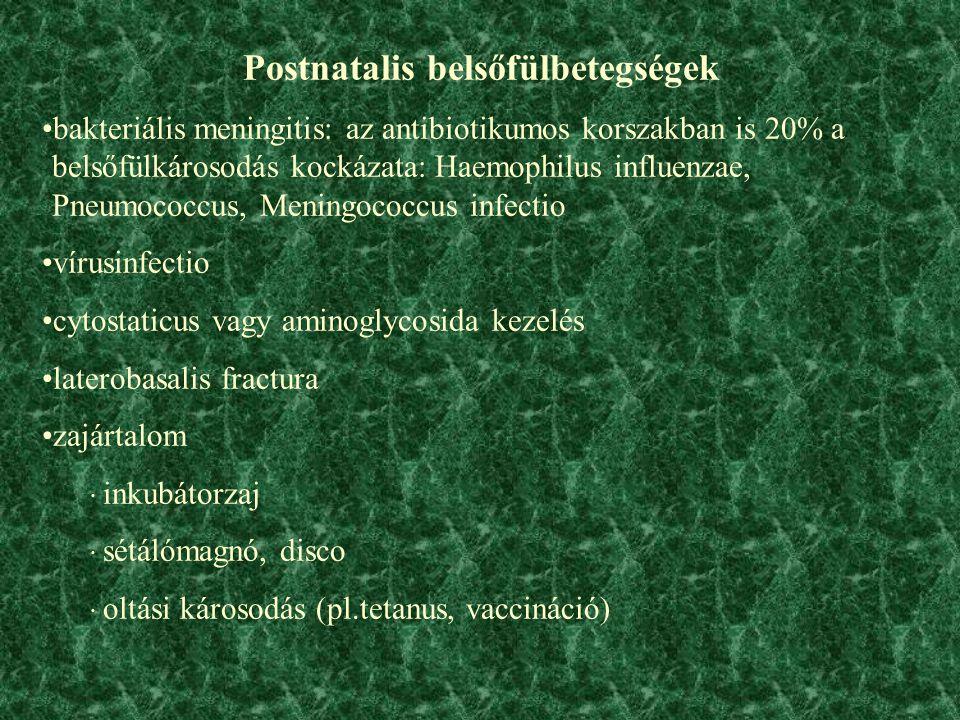 . Postnatalis belsőfülbetegségek bakteriális meningitis: az antibiotikumos korszakban is 20% a belsőfülkárosodás kockázata: Haemophilus influenzae, Pneumococcus, Meningococcus infectio vírusinfectio cytostaticus vagy aminoglycosida kezelés laterobasalis fractura zajártalom · inkubátorzaj · sétálómagnó, disco · oltási károsodás (pl.tetanus, vaccináció)