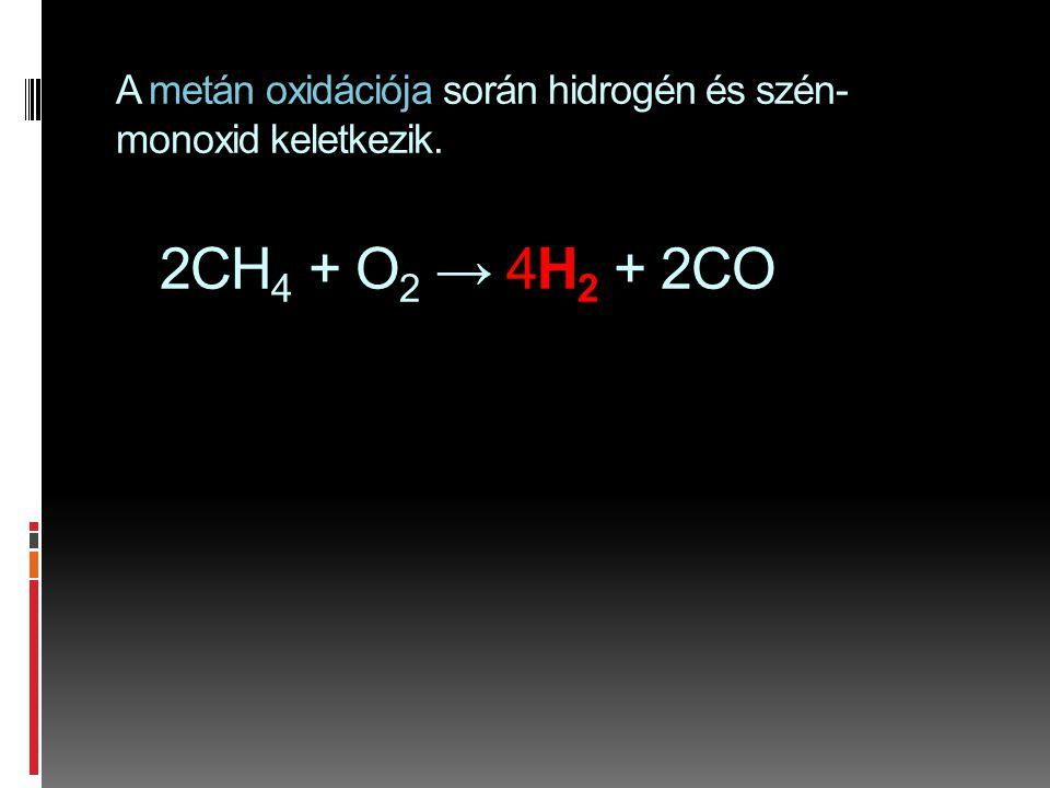 A metán oxidációja során hidrogén és szén- monoxid keletkezik. 2CH 4 + O 2 → 4H 2 + 2CO