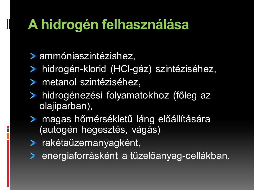 A hidrogén felhasználása ammóniaszintézishez, hidrogén-klorid (HCl-gáz) szintéziséhez, metanol szintéziséhez, hidrogénezési folyamatokhoz (főleg az ol