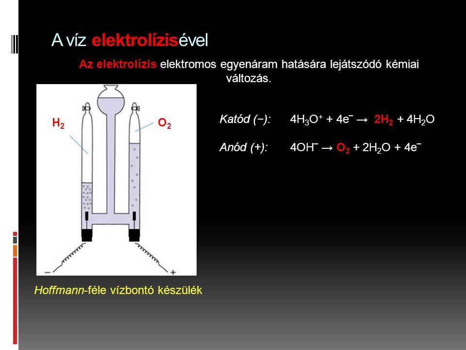 A víz elektrolízisével Az elektrolízis elektromos egyenáram hatására lejátszódó kémiai változás. Hoffmann-féle vízbontó készülék Katód (−): 4H 3 O + +