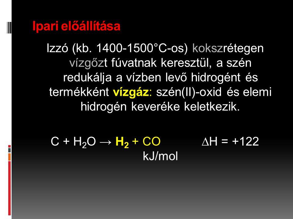 Ipari előállítása Izzó (kb. 1400-1500°C-os) kokszrétegen vízgőzt fúvatnak keresztül, a szén redukálja a vízben levő hidrogént és termékként vízgáz: sz