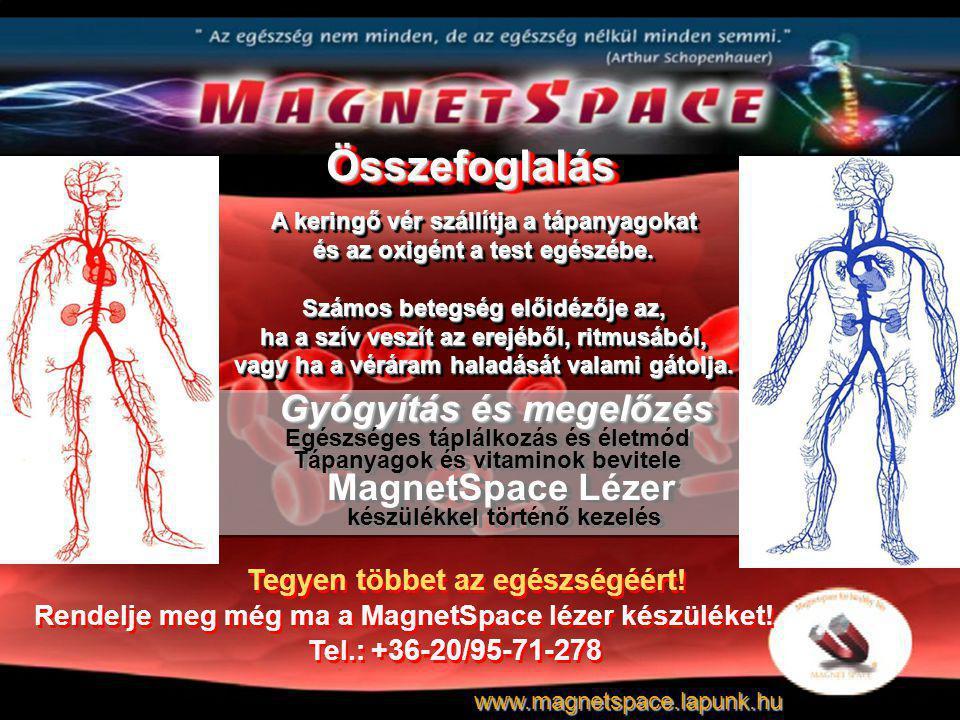 Gyógyítás és megelőzés Gyógyítás és megelőzés Egészséges táplálkozás és életmód Tápanyagok és vitaminok bevitele MagnetSpace Lézer készülékkel történő