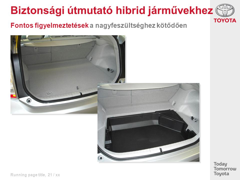 Running page title, 21 / xx Biztonsági útmutató hibrid járművekhez Fontos figyelmeztetések a nagyfeszültséghez kötődően