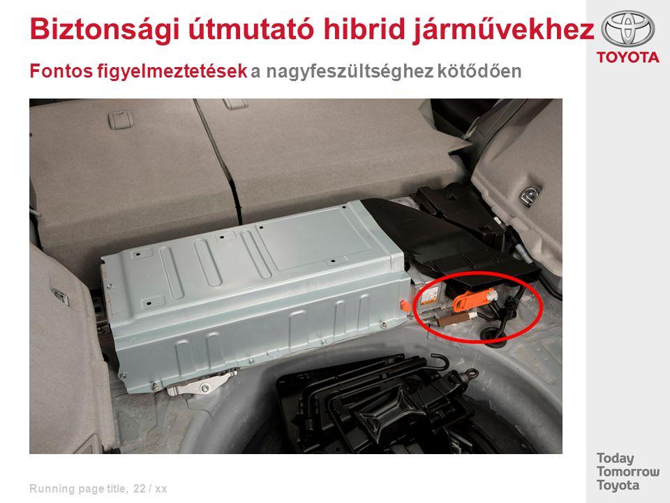 Running page title, 22 / xx Biztonsági útmutató hibrid járművekhez Fontos figyelmeztetések a nagyfeszültséghez kötődően