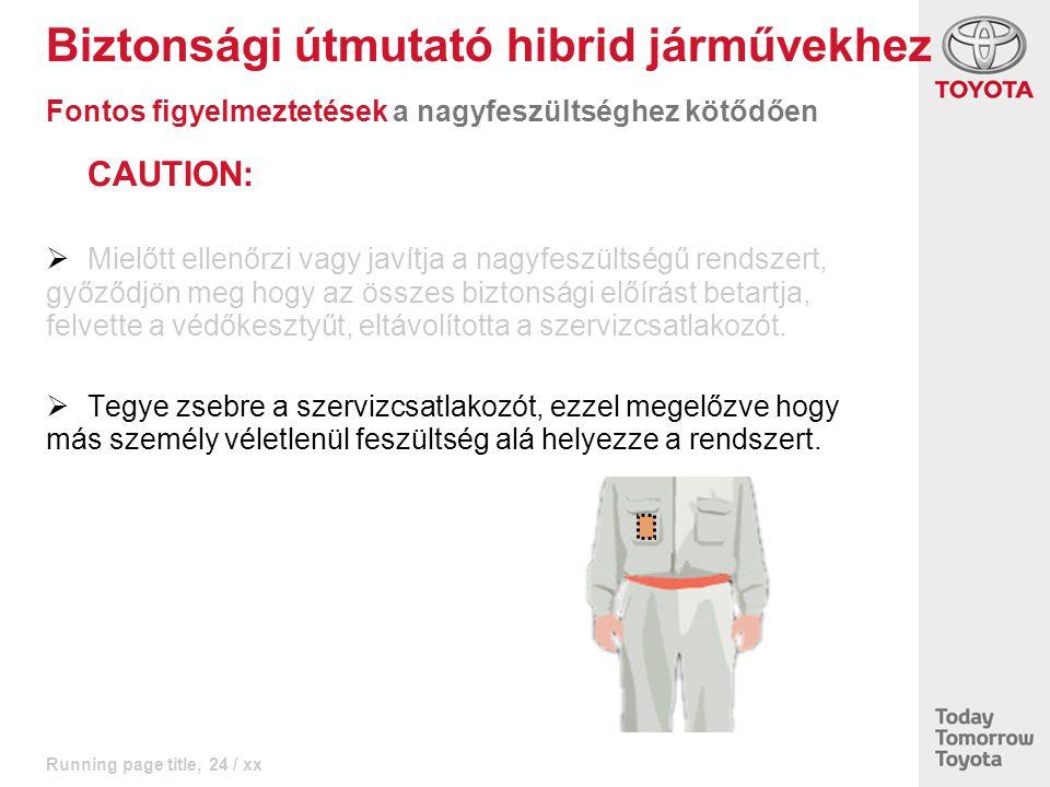 Running page title, 24 / xx CAUTION:  Mielőtt ellenőrzi vagy javítja a nagyfeszültségű rendszert, győződjön meg hogy az összes biztonsági előírást be