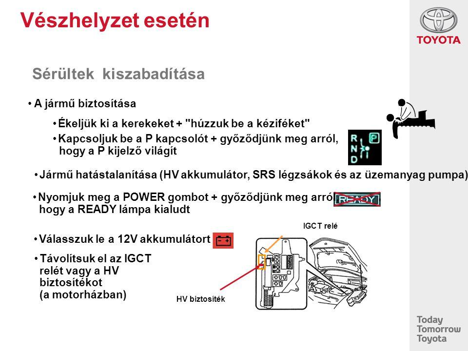 Vészhelyzet esetén Sérültek kiszabadítása IGCT relé HV biztosíték Ékeljük ki a kerekeket +