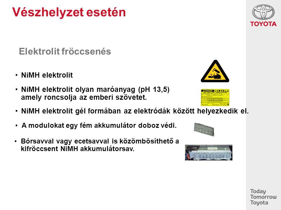Vészhelyzet esetén Elektrolit fröccsenés NiMH elektrolit NiMH elektrolit olyan maróanyag (pH 13,5) amely roncsolja az emberi szövetet. NiMH elektrolit