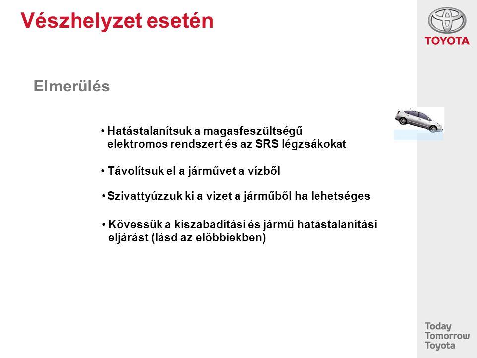 Vészhelyzet esetén Elmerülés Kövessük a kiszabadítási és jármű hatástalanítási eljárást (lásd az előbbiekben) Szivattyúzzuk ki a vizet a járműből ha l