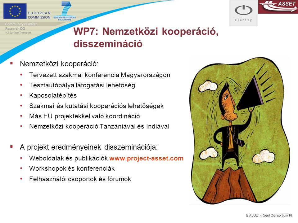 © ASSET-Road Consortium 18 WP7: Nemzetközi kooperáció, disszemináció  Nemzetközi kooperáció: Tervezett szakmai konferencia Magyarországon Tesztautópá