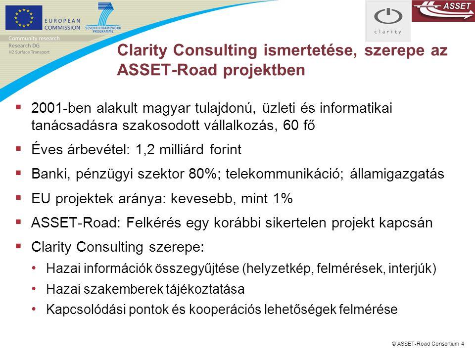 © ASSET-Road Consortium 4 Clarity Consulting ismertetése, szerepe az ASSET-Road projektben  2001-ben alakult magyar tulajdonú, üzleti és informatikai