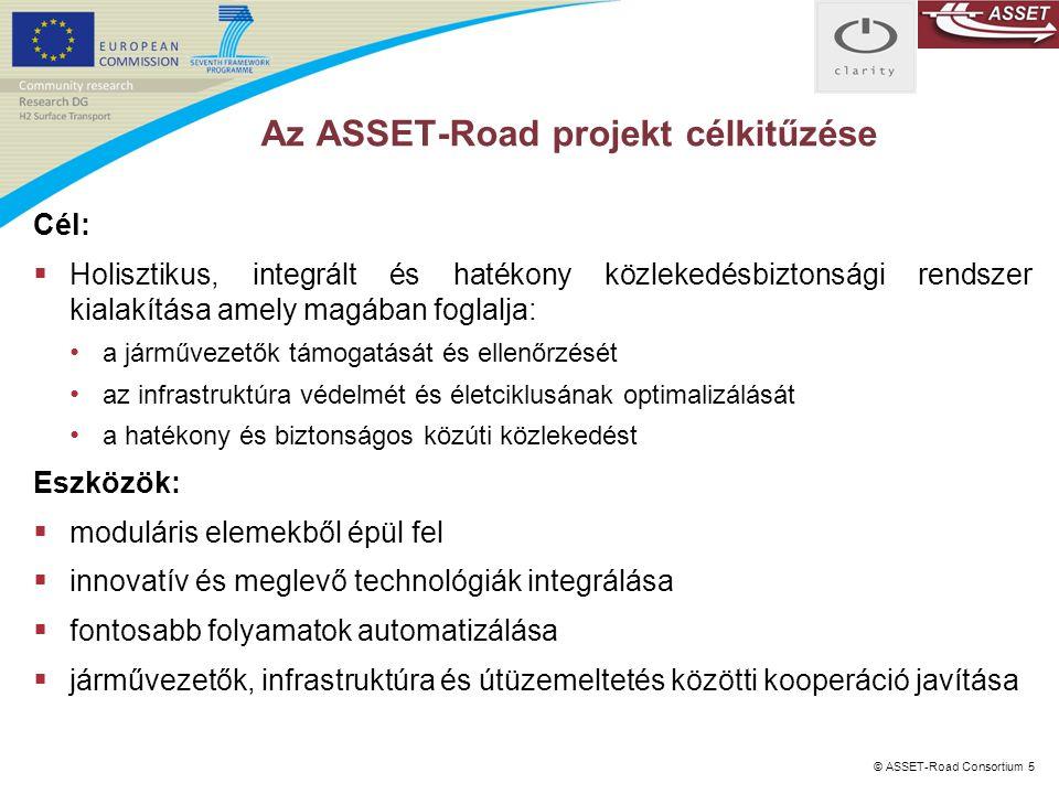 © ASSET-Road Consortium 5 Az ASSET-Road projekt célkitűzése Cél:  Holisztikus, integrált és hatékony közlekedésbiztonsági rendszer kialakítása amely