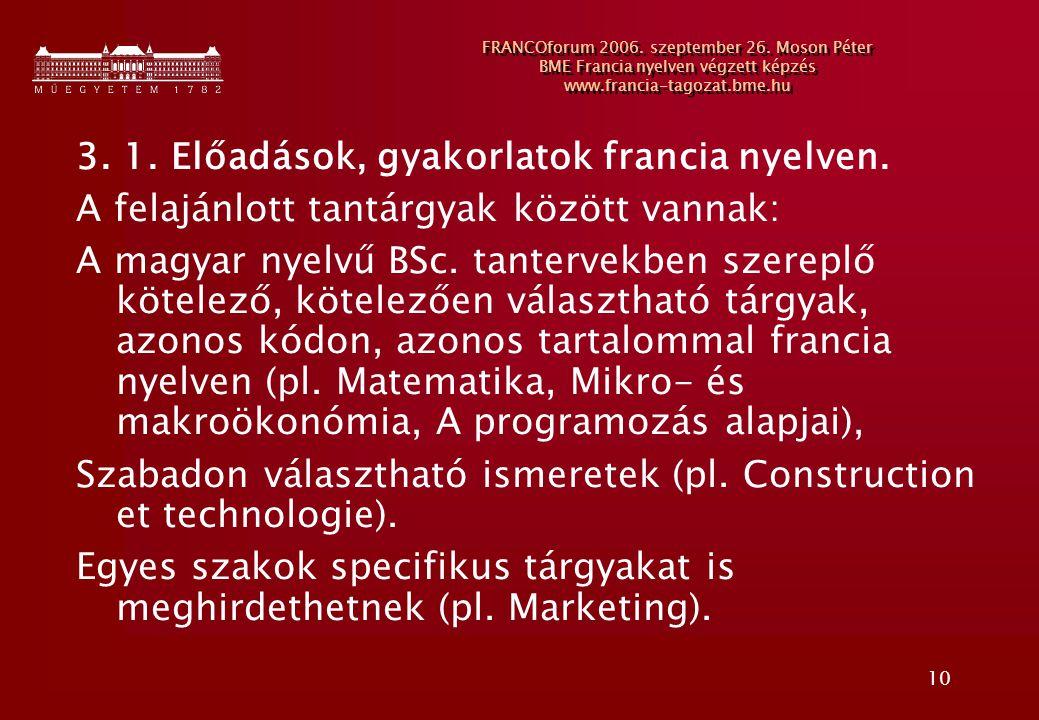 10 FRANCOforum 2006. szeptember 26. Moson Péter BME Francia nyelven végzett képzés www.francia-tagozat.bme.hu 3. 1. Előadások, gyakorlatok francia nye