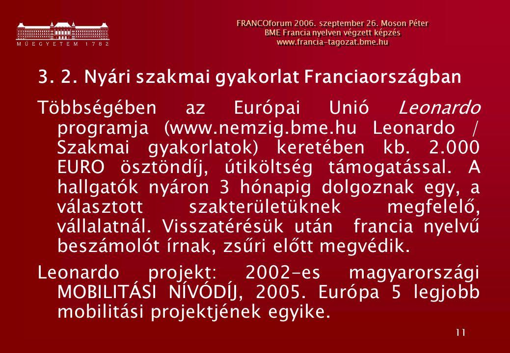 11 FRANCOforum 2006. szeptember 26. Moson Péter BME Francia nyelven végzett képzés www.francia-tagozat.bme.hu 3. 2. Nyári szakmai gyakorlat Franciaors