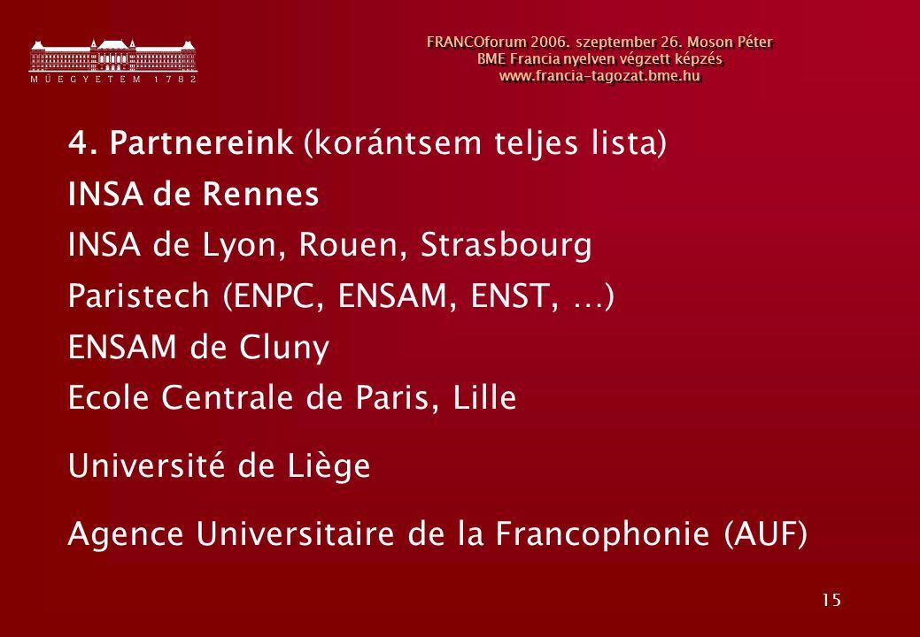 15 FRANCOforum 2006. szeptember 26. Moson Péter BME Francia nyelven végzett képzés www.francia-tagozat.bme.hu 4. Partnereink (korántsem teljes lista)